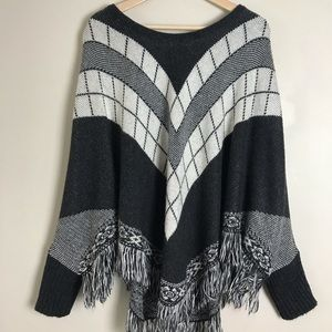 Poncho Sweater With Sleeves and Fringe